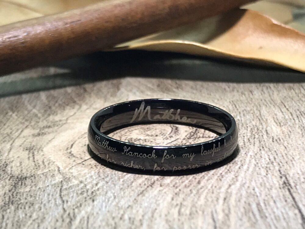 Handmade Your Marriage Vow & Signature Rings Wedding Titanium Ring Black Bands Couple Anniversary Dome Shape 4mm