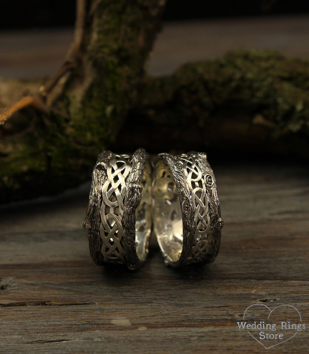 His & Her Tree Wedding Bands With Celtic Pattern, Rings Set, Tree Band Silver Bands, Matching