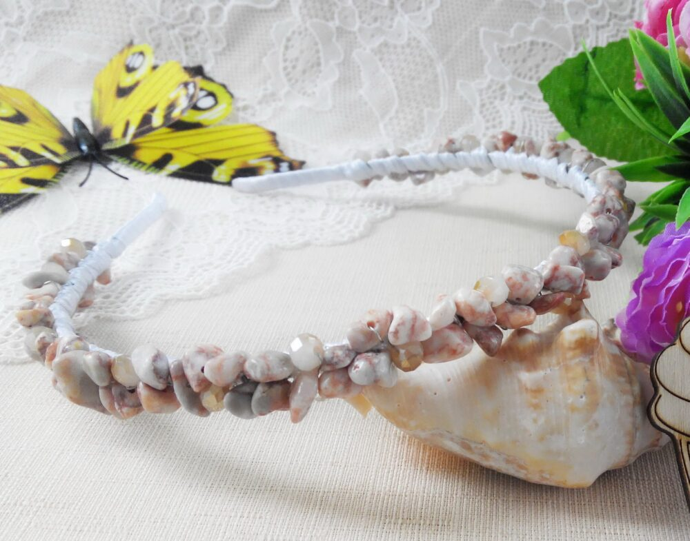 Crystal Crown, Wedding Tiara, Bridal Headband, Jasper Jewelry, Beaded Hair Band, Bridesmaid Piece, Beige Hairpiece, Boho Headpiece