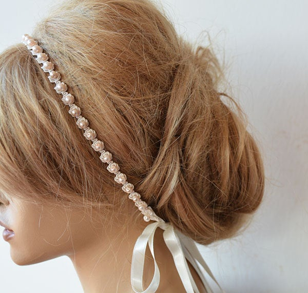 Pearl Lace Headband, Wedding Bridal Head Piece, For Bride Pink Pearl, Forehead Piece With Pearls & Lace, Halo Hair Hedaband