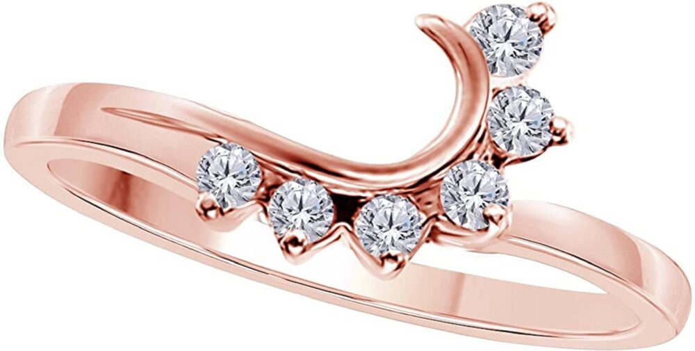 0.25Ct Round Cut Simulated Wedding Band Enhancer Guard Double Ring Silver 14K Rose Gold Finish
