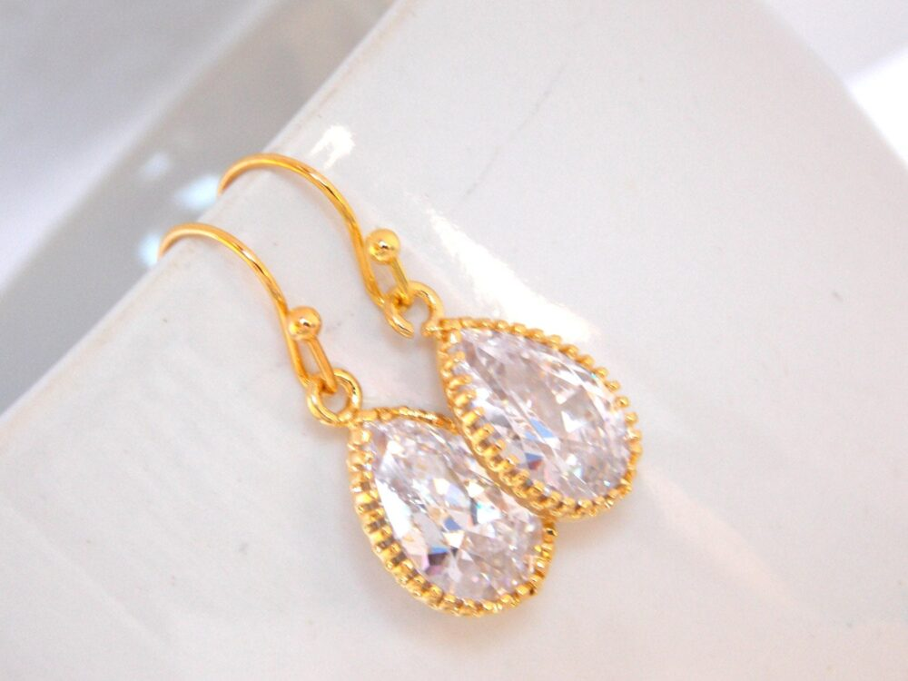 Bridesmaid Jewelry, Gold, Crystal, Clear, Bridal Earrings, Bride Wedding Gifts, Dangle, Gift