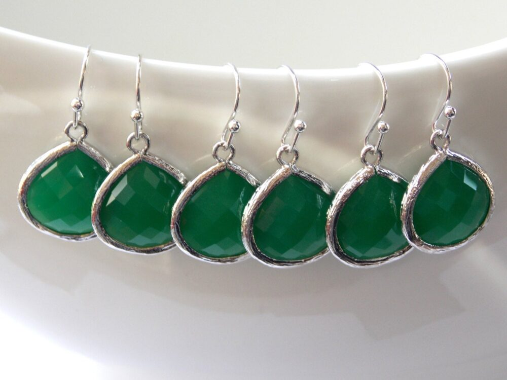 Bridesmaid Jewelry, Bridal, Silver, Palace Green Earrings, Green, Glass Wedding Gifts Dangle