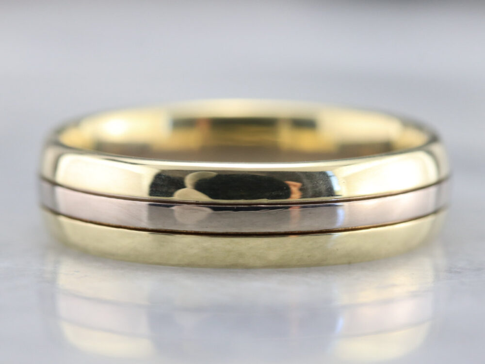 Men's Vintage Wedding Band, Two Tone Gold Unisex Comfort Fit Yellow & White W6Nket99