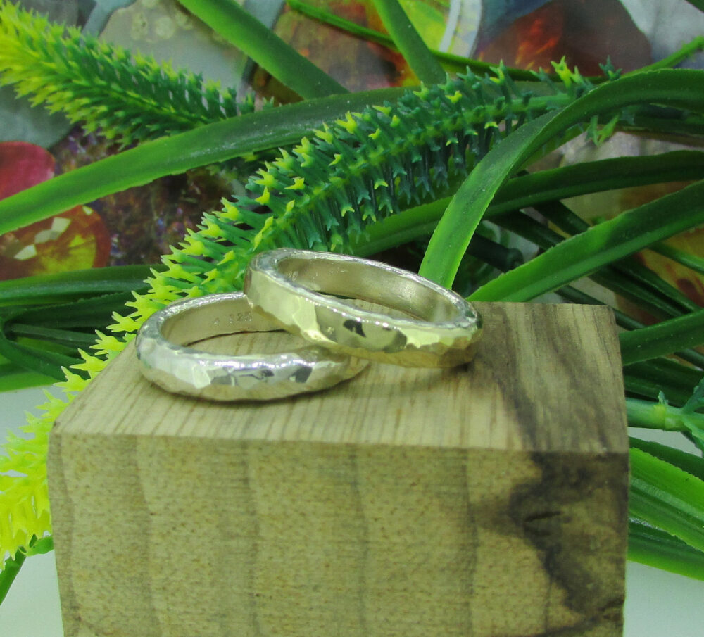 Wedding Set 2 Rings 9K Yellow Gold, Silver Band, Hammered, Designer Jewelry, Mixed Metal Couple Rings