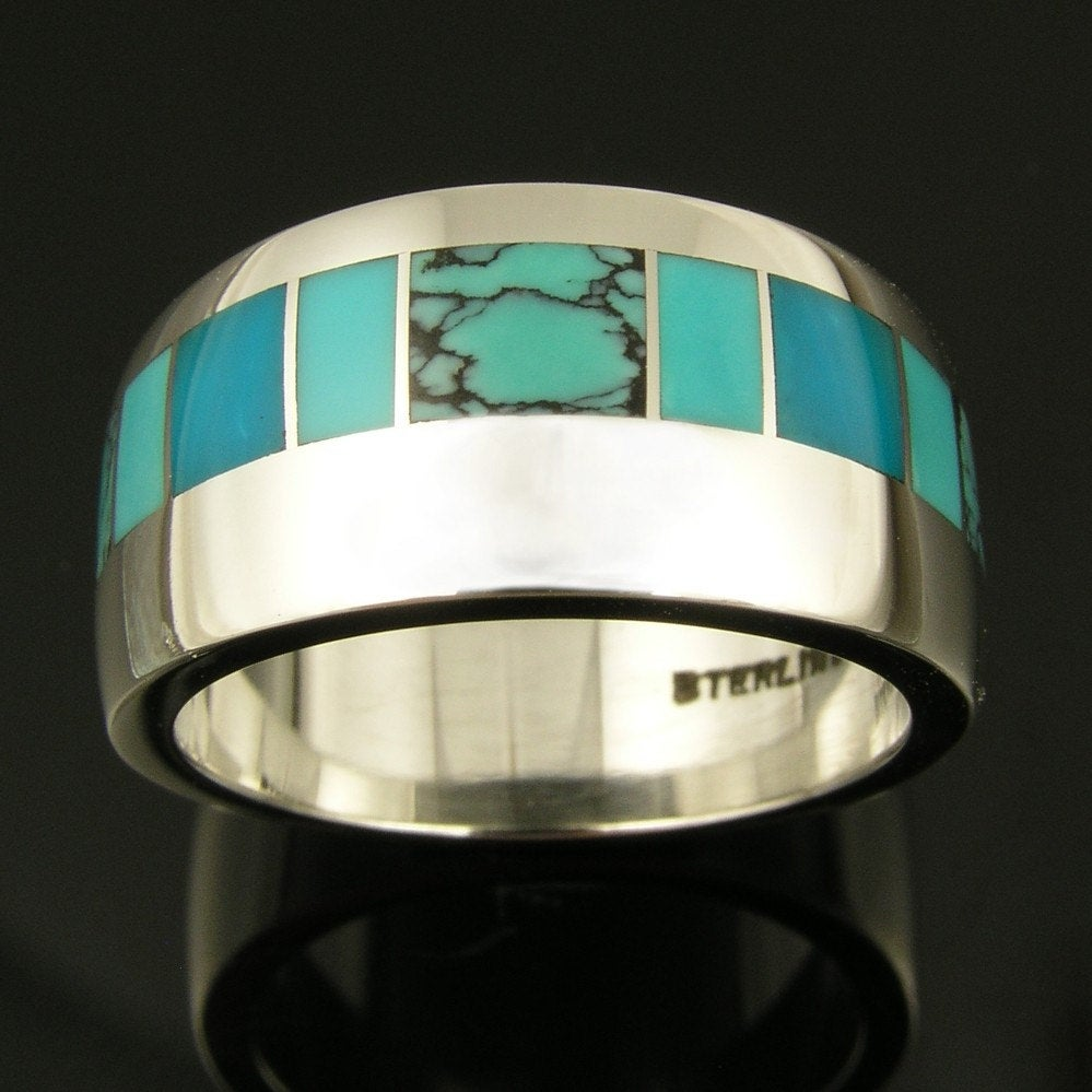Turquoise Wedding Ring in Sterling Silver, Band, With Spiderweb & Gem Silica