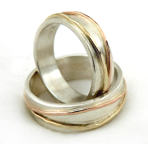 Wedding Ring Set, Promise Lovers Popular, Two-Tone Crossed Gold Hoops On Sterling Silver, Handmade Wedding Rings, Band