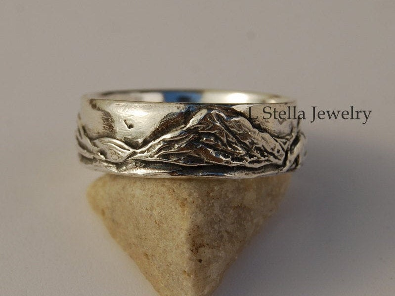 Teton Mountain Band/Landscape Wedding Sterling 7mm Unisex Silver Bands Rocky Mountain Band Rustic Wedding
