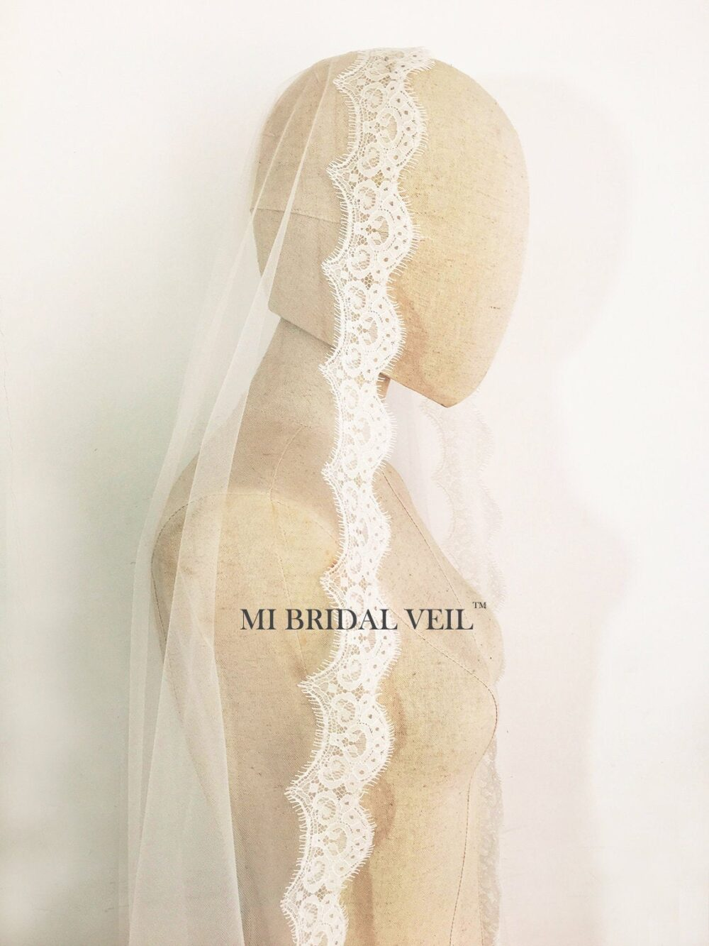 Cathedral Wedding Veil, Chantilly Lace Drop Blusher Mantilla Eyelash Bridal Mi Veil