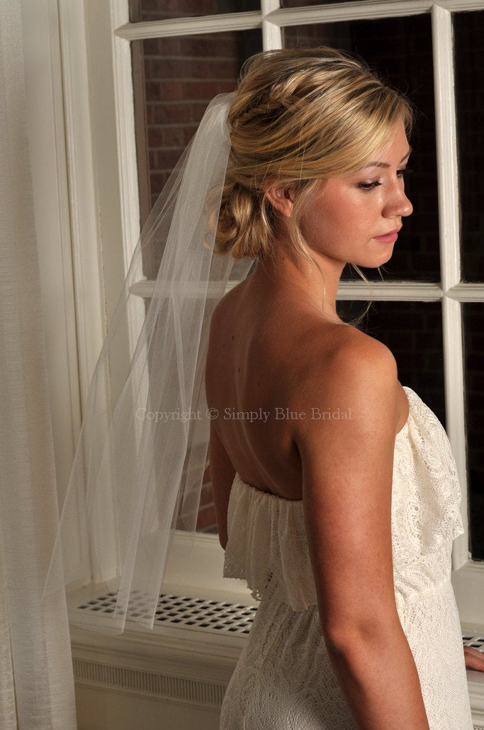 Wedding Veil - Elbow Length With Raw Cut Edge Ready To Ship Champagne