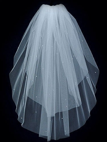 Sale 2 Tier Raw Cut Edge Wedding Veil Elbow Length Sprinkled With Rhinestones