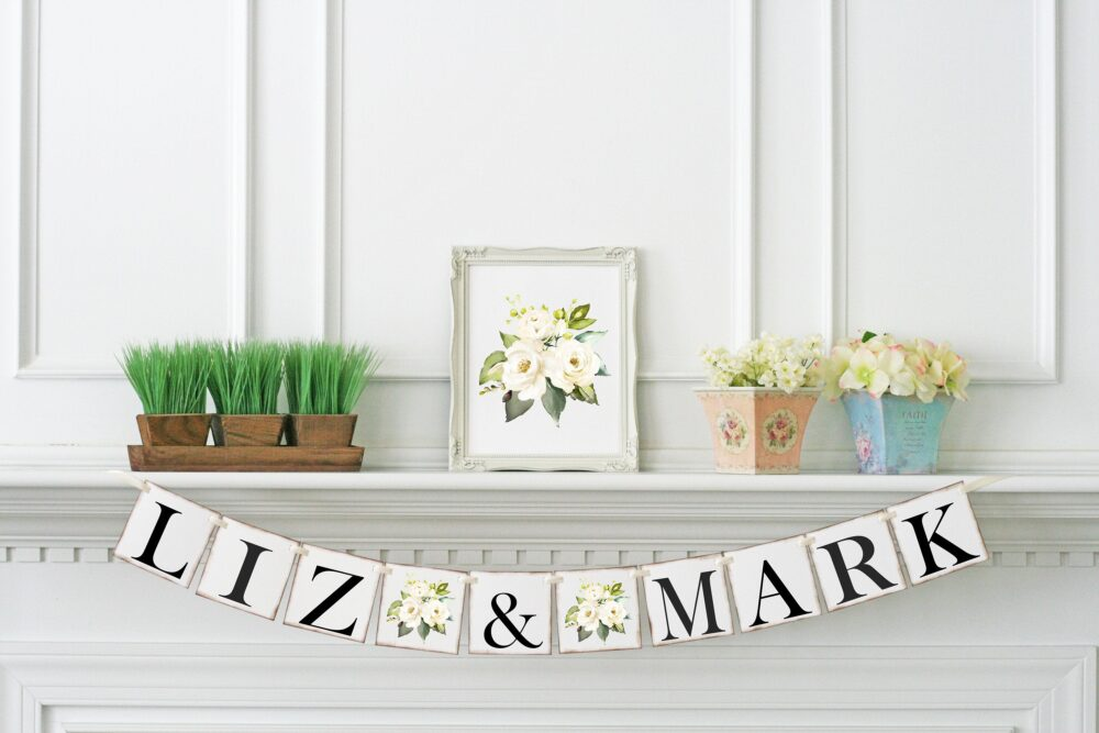 Cream Wedding Banner, Greenery Engagement Party Decor, Bridal Shower Couples Name, Photo Prop, Sweetheart Table Sign, Wbg
