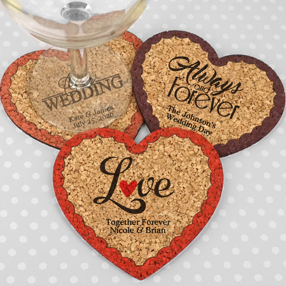 Valentines Day Gift, Heart Wedding Favors, Personalized Cork Coasters - Set Of 12