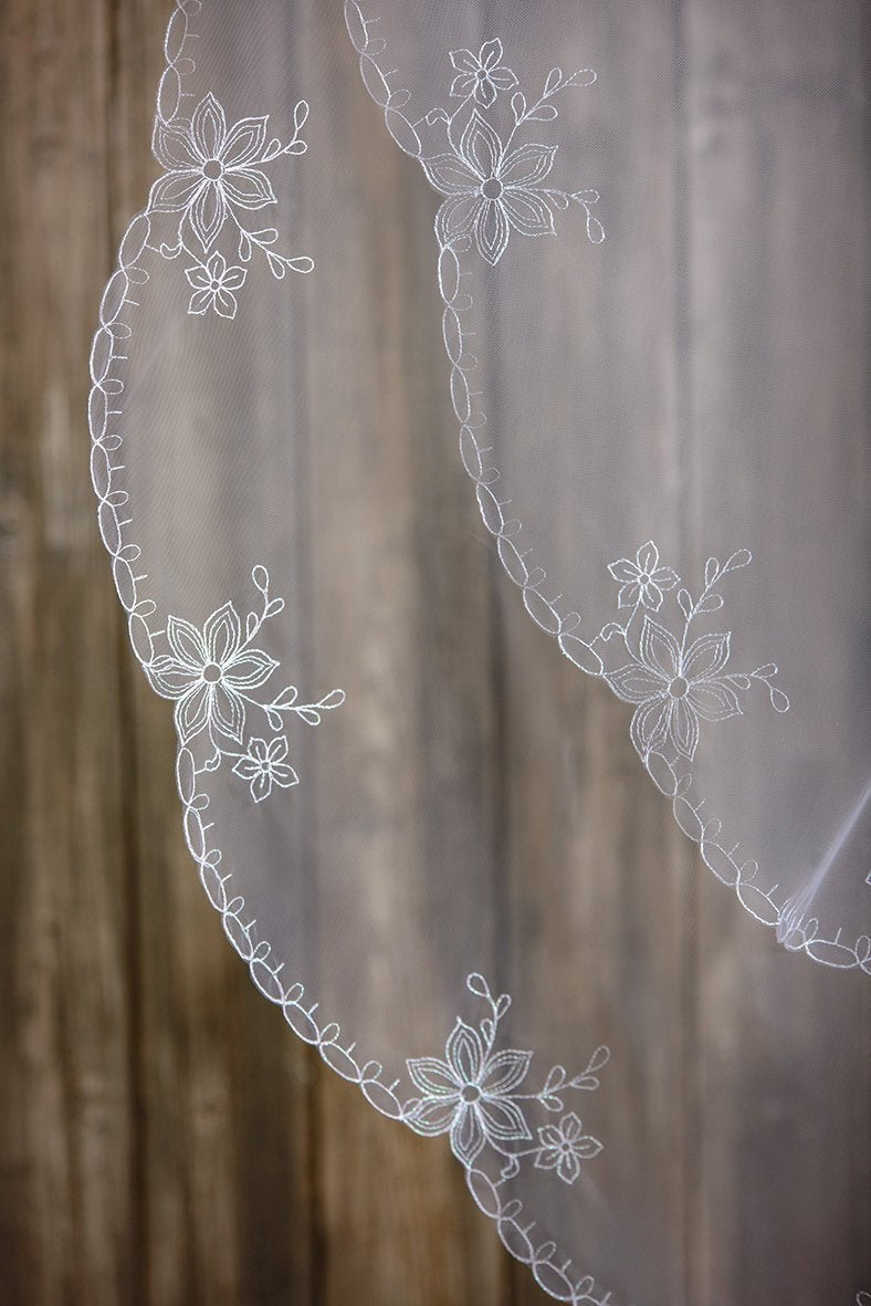 Two Tier Veil, Cathedral Length, Chapel Fingertip Wedding Elbow Length