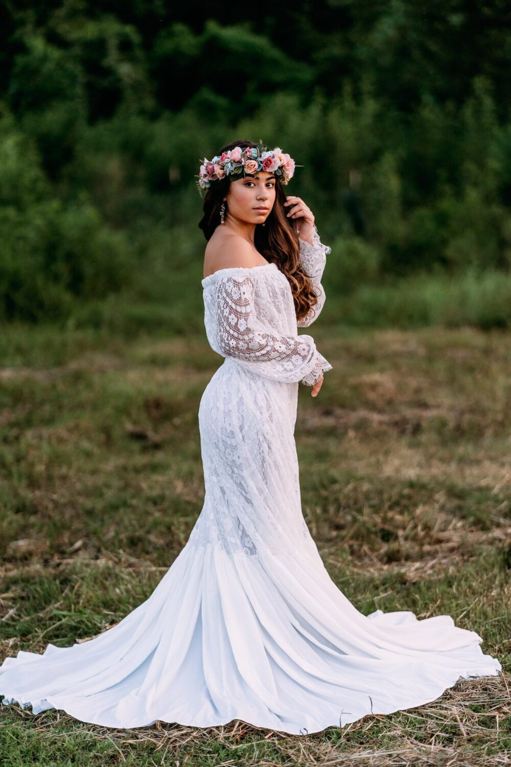 Dreamy Lace Wedding Dress | Plus Size Bridal Gowns| Off The Shoulder Romantic Ready To Ship L Xl 1X 2X 3X Angelica