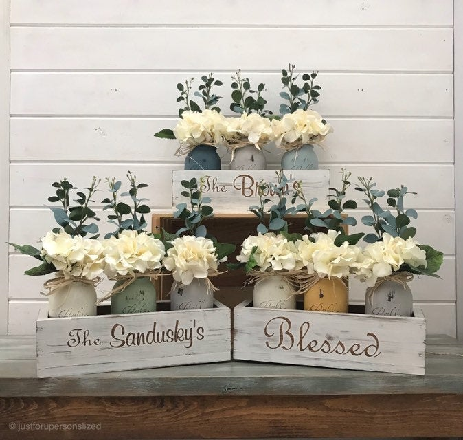 Mason Jar Decor Centerpiece Farmhouse Country Home Painted Jars Rustic Floral Arrangement Wood Box