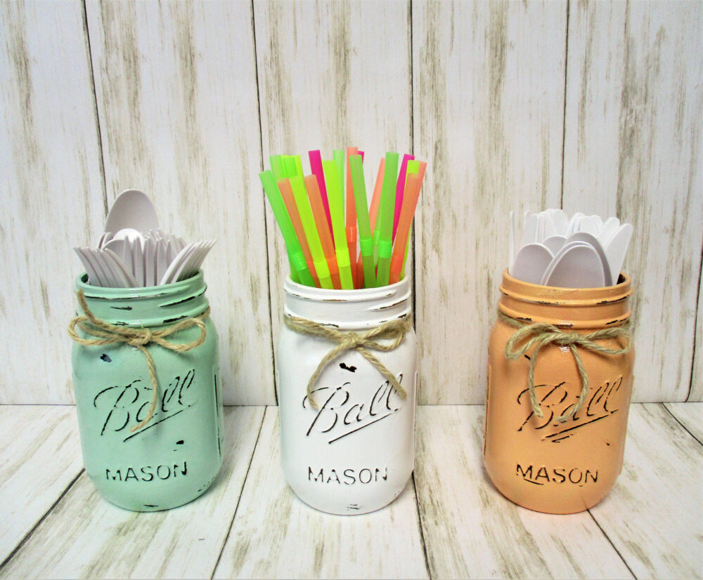 Mason Jar Decor, Party Decorations, Centerpiece, Baby Shower Wedding Bridal Pastel Jars