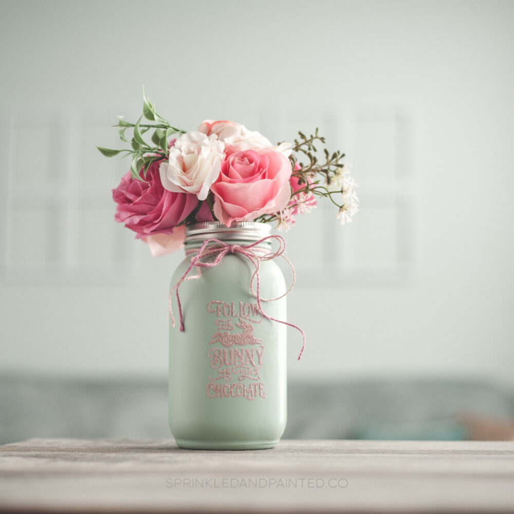 Easter Decor Centerpiece Vase, Bunny Decor, Pastel Painted Mason Jar, Gift, Mint Green & Pink