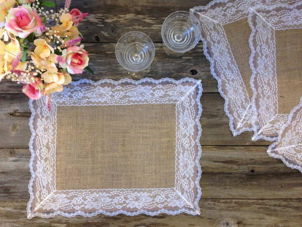 Burlap & Lace Wedding Placemats With White Lace, 14x18 - Rustic Table Placemat, Country Home Decor, Farmhouse Shabby Chic