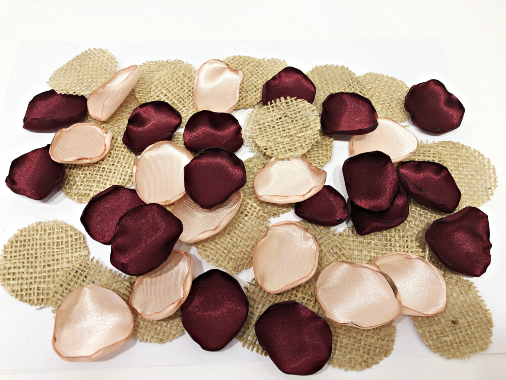 Rustic Wedding Rose Gold Burgundy Flower Petals. Burlap & Lace Girl Petals Barn Table Decor Aisle