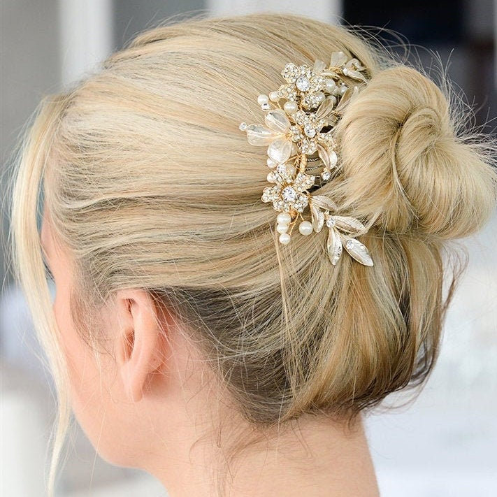 Gold Bridal Comb, Pearl Wedding Hair Crystal Accessories, Accessory, Comb For Brides