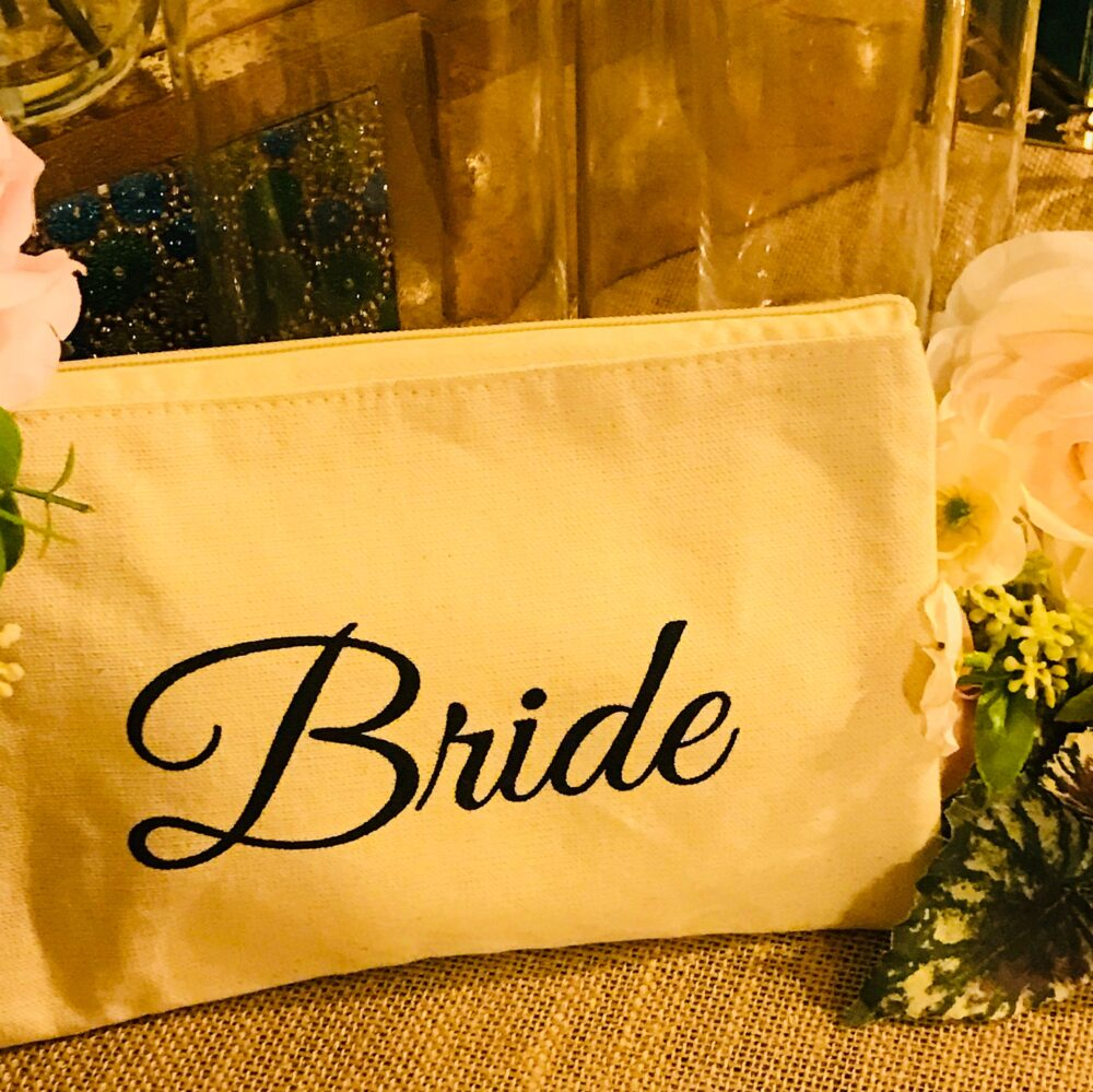 Personalized Wedding Bridal Clutch Rectangular Makeup Bag, Gold Letters Saying, Bride, Bridesmaid Or Maid Of Honor