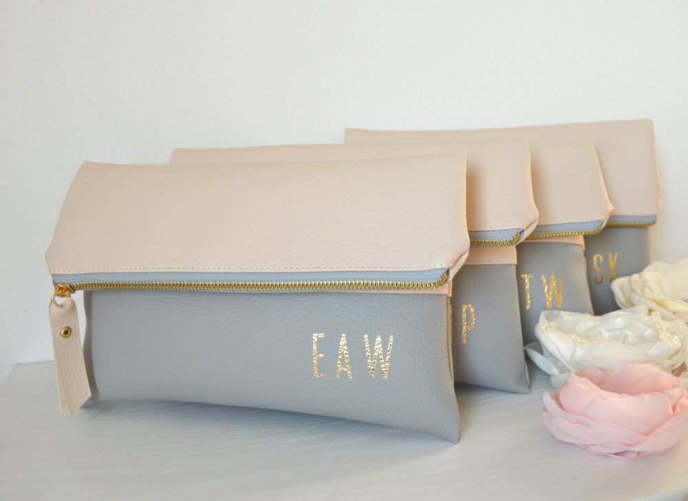 Set Of 4 Personalized Wedding Clutches/Bridesmaid Gift Monogrammed Bridal Clutch Purses Cream & Light Grey