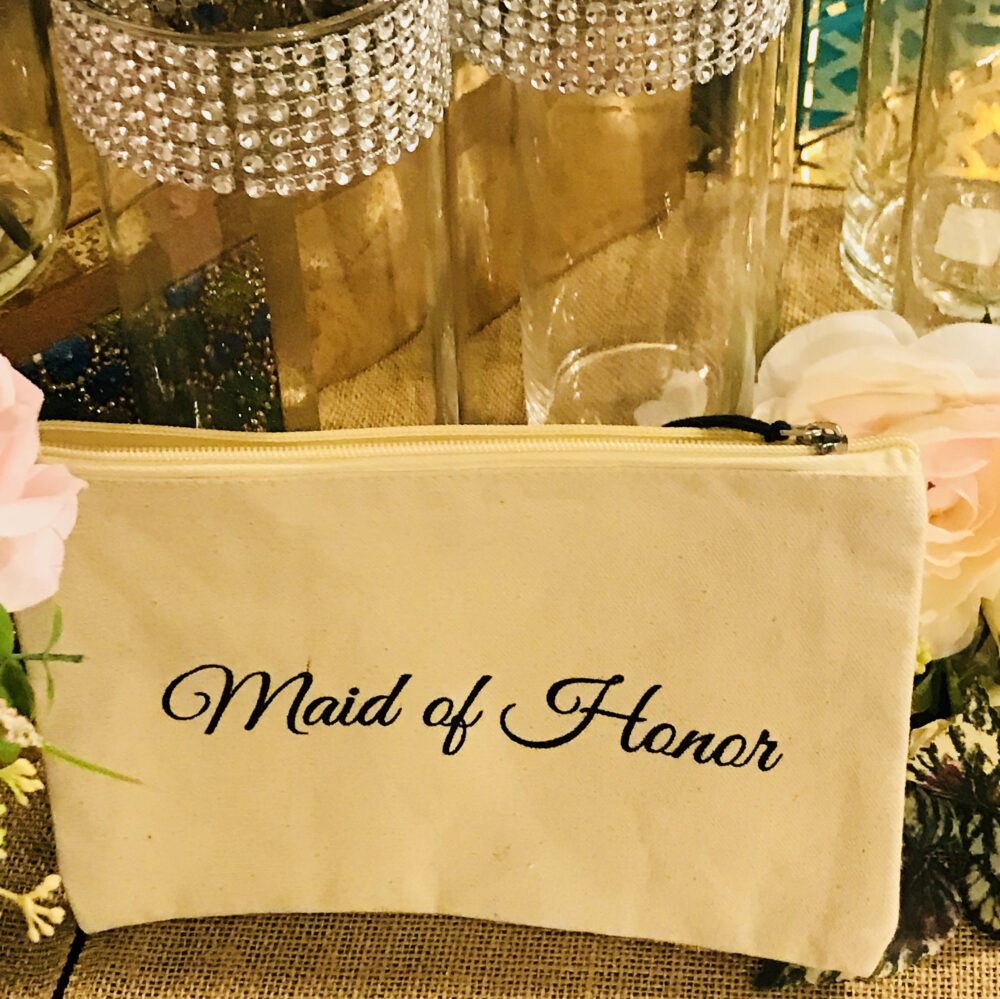 Personalized Wedding Bridal Clutch Rectangular Makeup Bag, Letters Saying, Bride, Bridesmaid Or Maid Of Honor