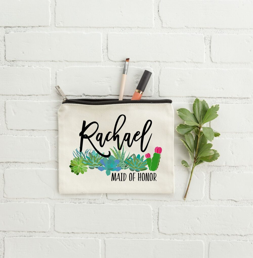 Succulent Wedding, Succulents Wedding Decor, Bridesmaid Makeup Bag, Bridesmaids Gifts, Gift For Bridesmaid, Personalized Gifts