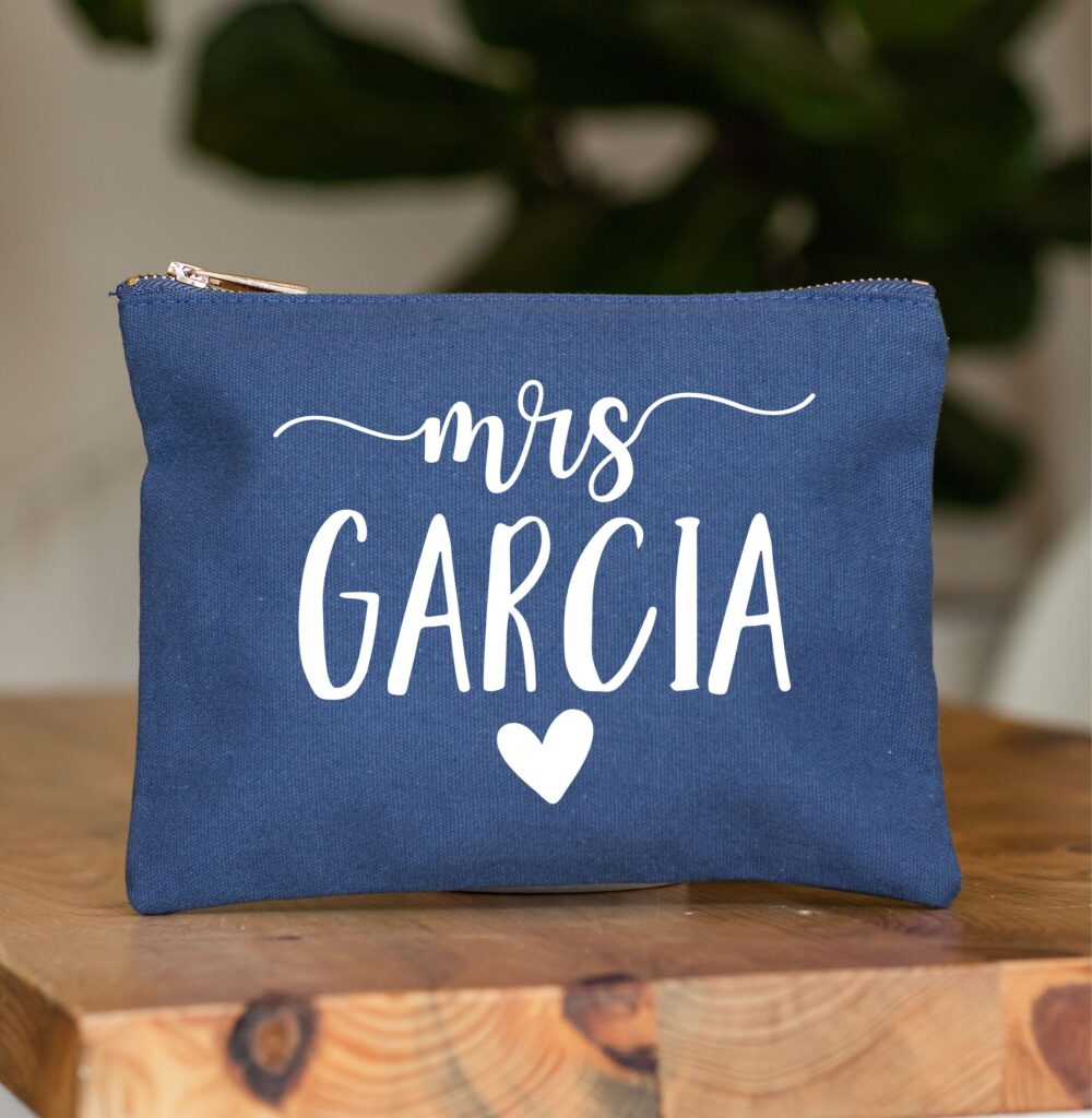 Custom Wedding Gift, Bride Makeup Bag, Cosmetic Pouch, Personalized Bridal Shower Navy Bag