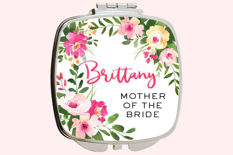 Wedding Party Gift For Mother Of The Bride Compact Mirror Personalized Bridal Gift Custom Personalized Name in Any Color