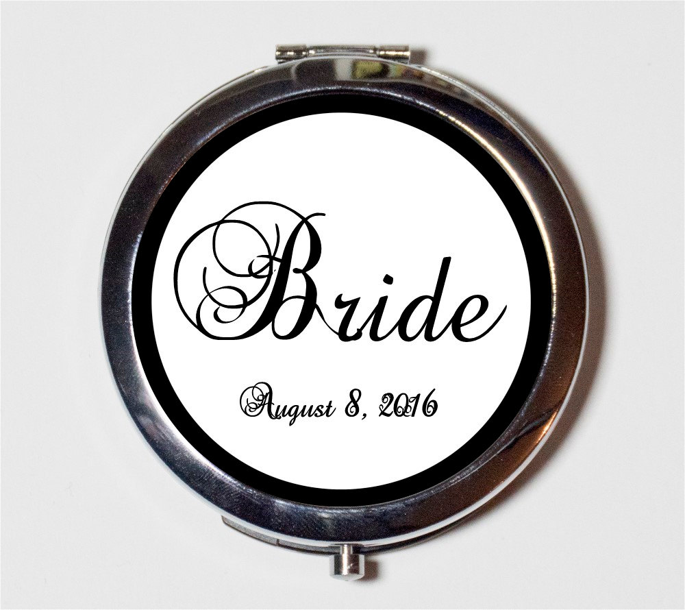 Bride Wedding Party Compact Mirror - Customized With Your Date Bridal Gift Make Up Pocket For Cosmetics