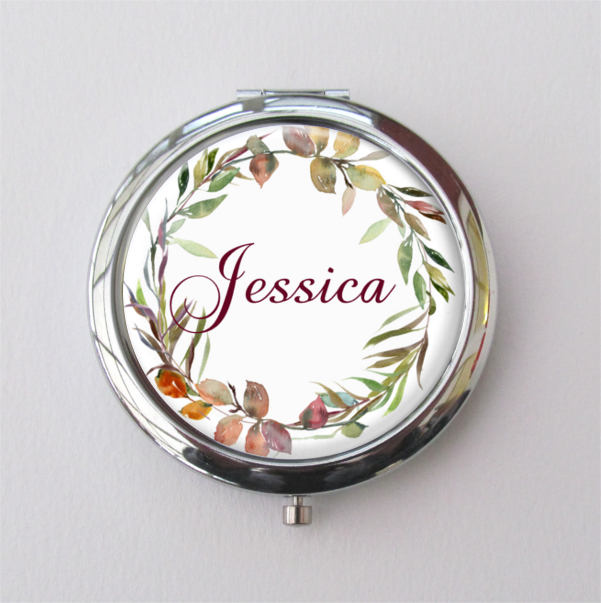 Bridesmaid Gifts, Fall Wedding, Personalized Compact Mirror