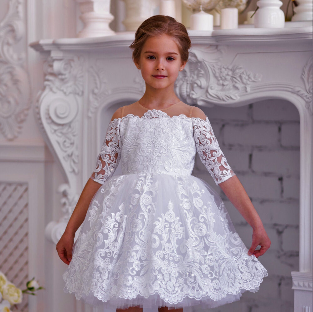 White Tulle Flower Girl Dress - Wedding Baby Tutu Birthday -Pageant Ball Gown Lace