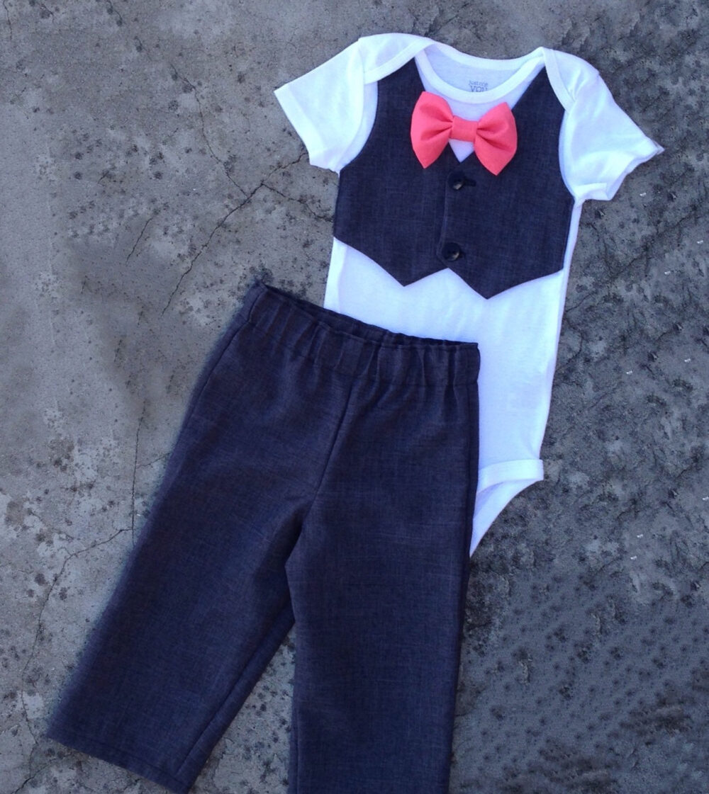 Baby Boy Clothes, Baby Wedding Outfit, Gray Suit Vest Onesie Coral Bowtie, Pants, Infant Dressy Church Outfit