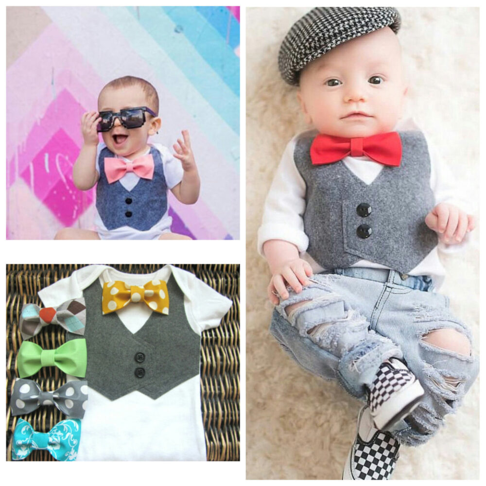 Baby Boy Easter Outfit Wedding Bow Tie - First Take Home Suit Vest Baptism