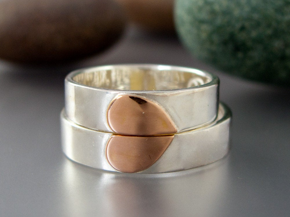 One Love Heart Wedding Band Set - 5mm Flat Sterling Silver Rings With A 14K Rose Gold