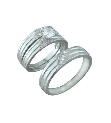 Silver Trio Wedding Ring Sets, 0.925 Sterling Channel Band With Cubic Zirconium Stones