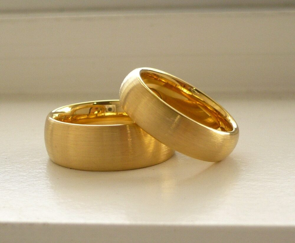 Wedding Band Set Tungsten Carbide His & Her Ring Yellow Gold Ip Plated Engagement Free Laser Engraving