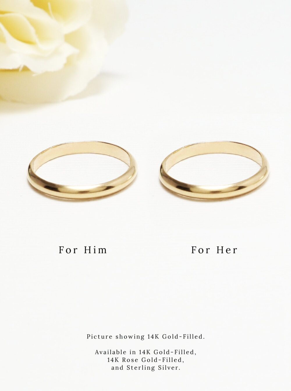 Promise Ring For Couple, Silver Couple Ring, Gold Set, 2.5mm, Matching Dainty Wedding Band Rings, 14K | Eternal Rings