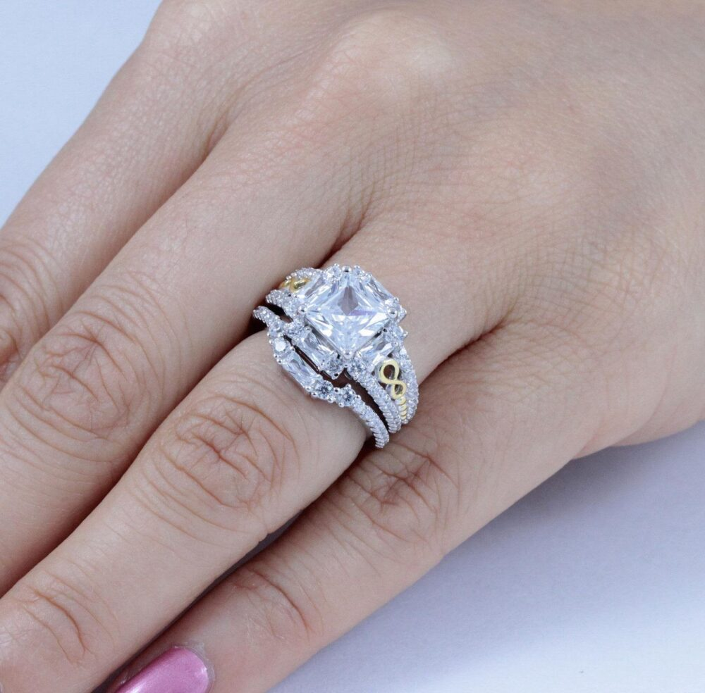 2Pc Sterling Silver Cz Wedding Band Engagement Rings Set Women Size 3-12 Sa0076A