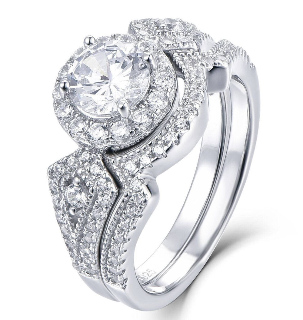 925 Sterling Silver Cz Halo Wedding Band Engagement Rings Set Size 3-12 Ssmlw03A