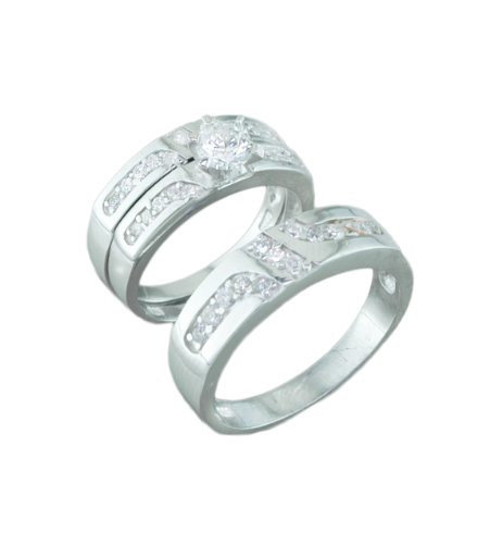 Silver Trio Wedding Ring Sets, 0.925 Sterling Channel Band With Cz Stones
