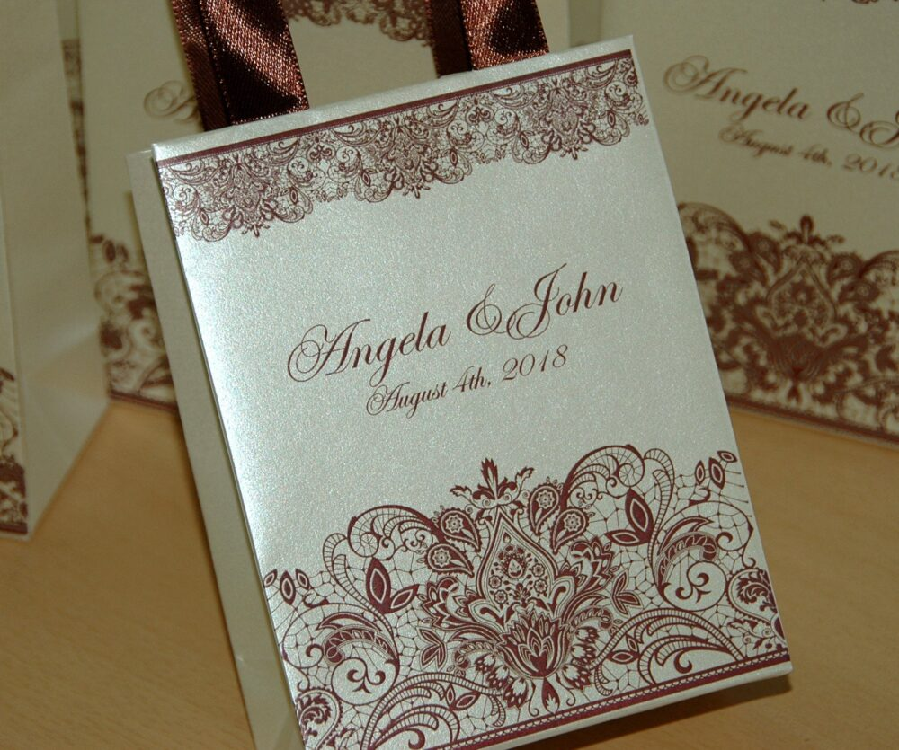 Champagne Wedding Gift Bags With Brown Satin Ribbon Handles, Print Lace & Your Names, Personalized Favor For Guests