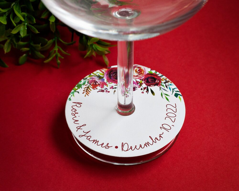 Wedding Wine Or Champagne Glass Tags, Personalized Names & Date Stem Tag, Red Floral Cardstock Circles | Wg-501-1