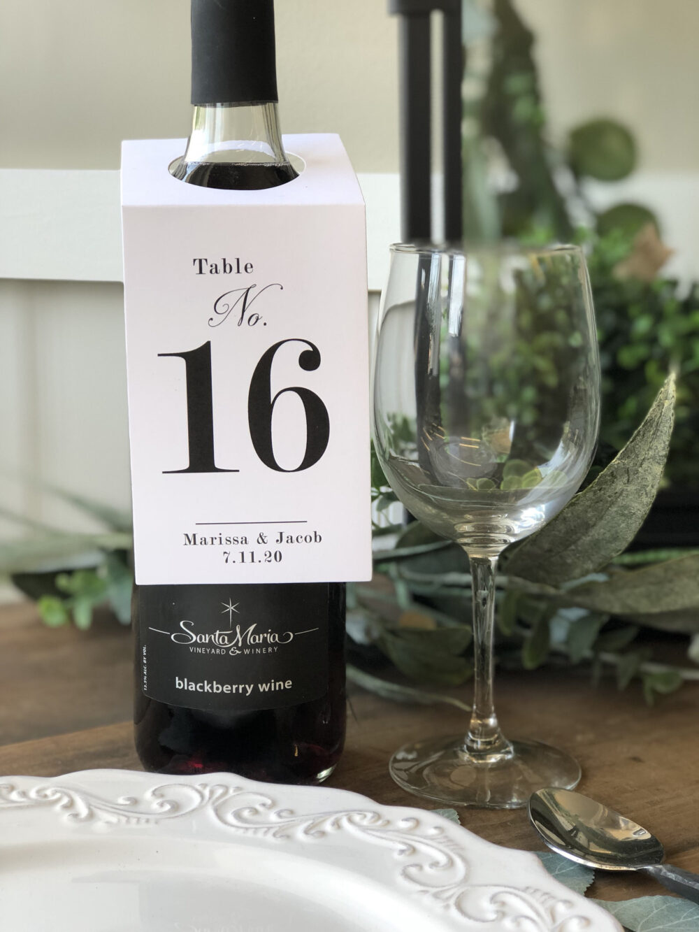 Wedding Wine Bottle Tags, Table Number Cards, Printed Numbers, Event Custom Set Of 10
