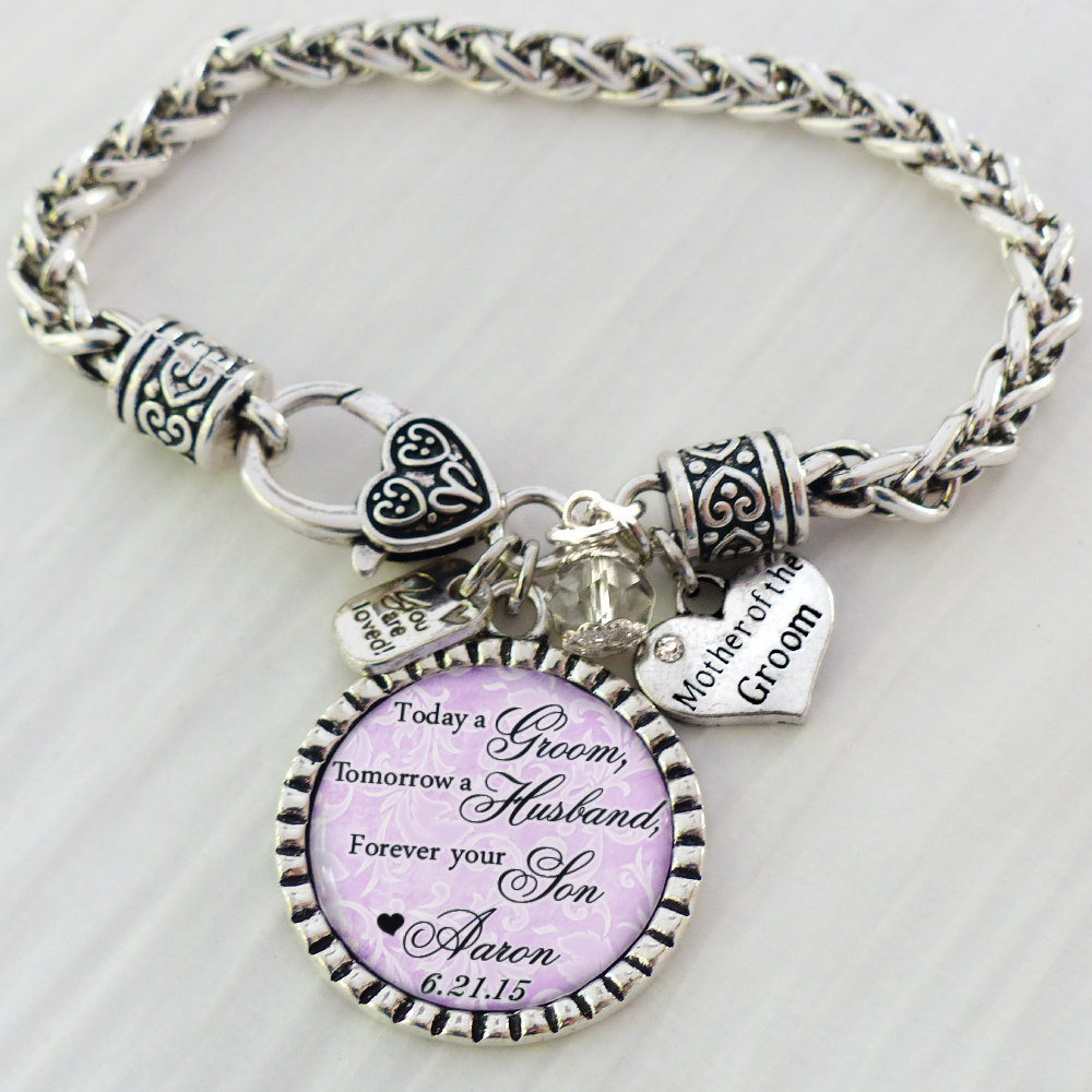 Mother Of The Groom Gift, Personalized Wedding Bracelet, Message, Today A Groom, Tomorrow Husband, Bracelet For Mog, Name & Date Jewelry