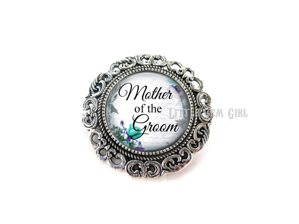 Mother Of The Groom Wedding Brooch - Silver Boutonniere Mom Pin 14 Stylish Backgrounds & 2 Options
