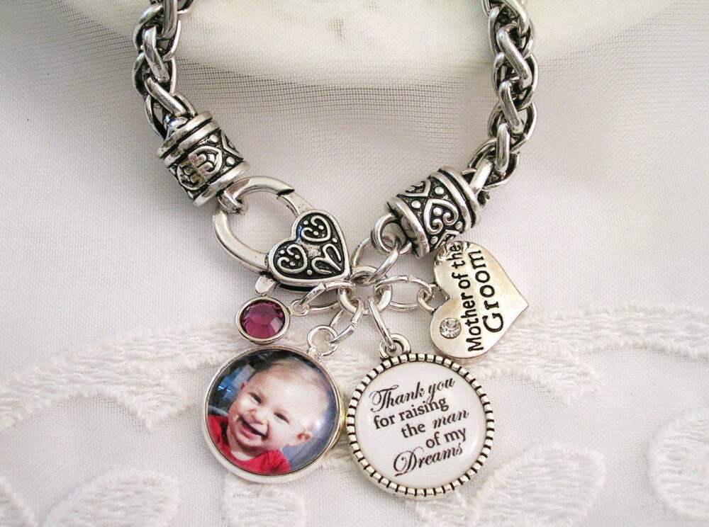 Mother Of The Bride Wedding Gift Groom Jewelry in Law Or Stepmom Bridal Add Custom Message Charm