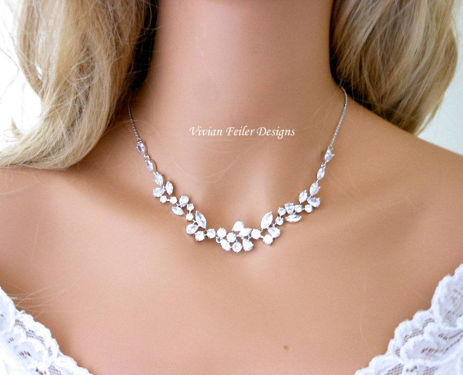 Crystal Necklace For Bride Wedding Marquise Bridal Jewelry Cubic Zirconia Mother Of The Maid Honor